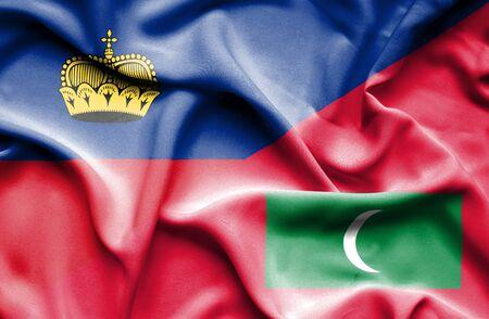 lichtenstein: Waving flag of Maldives and Lichtenstein
