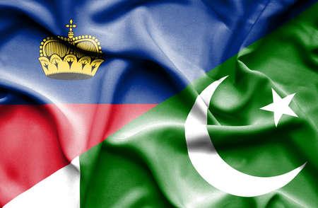 lichtenstein: Waving flag of Pakistan and Lichtenstein