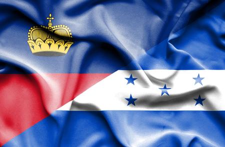 lichtenstein: Waving flag of Honduras and Lichtenstein Stock Photo