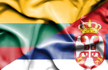 Waving flag of Serbia and Lithuania Stock Photo