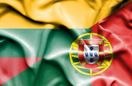 portugese: Waving flag of Portugal and Lithuania Stock Photo