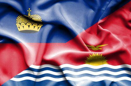 lichtenstein: Waving flag of Kiribati and Lichtenstein Stock Photo