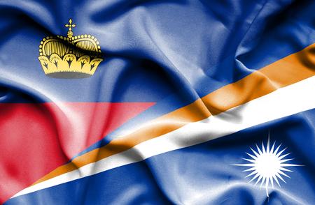 lichtenstein: Waving flag of Marshall Islands and Lichtenstein Stock Photo