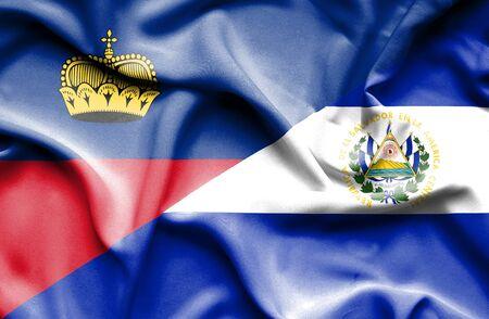 lichtenstein: Waving flag of El Salvador and Lichtenstein