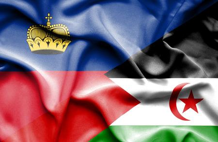 lichtenstein: Waving flag of Western Sahara and Lichtenstein