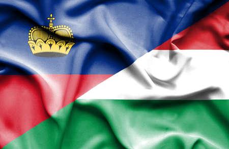 lichtenstein: Waving flag of Hungary and Lichtenstein