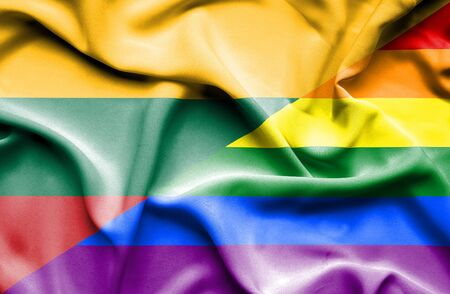 pride: Waving flag of Pride and Lithuania