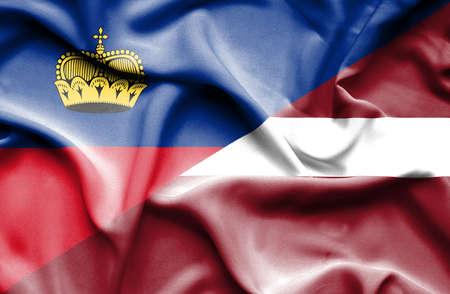 lichtenstein: Waving flag of Latvia and Lichtenstein Stock Photo