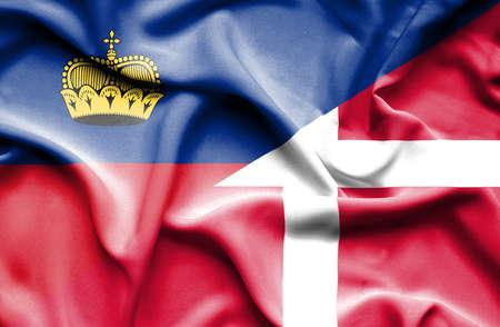 lichtenstein: Waving flag of Denmark and Lichtenstein