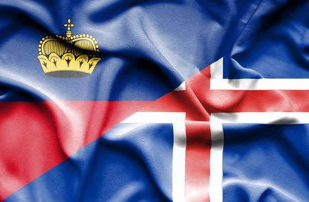 lichtenstein: Waving flag of Iceland and Lichtenstein