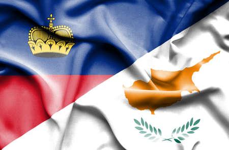 lichtenstein: Waving flag of Cyprus and Lichtenstein