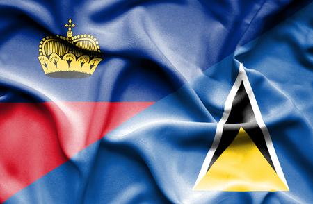 st lucia: Waving flag of St Lucia and Lichtenstein