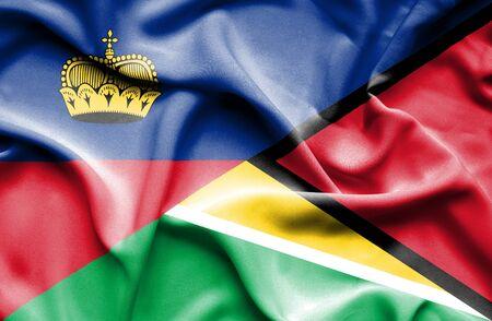 lichtenstein: Waving flag of Guyana and Lichtenstein