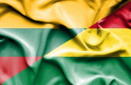 bolivia: Waving flag of Bolivia and Lithuania