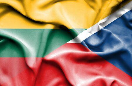 the czech republic: Waving flag of Czech Republic and Lithuania Stock Photo