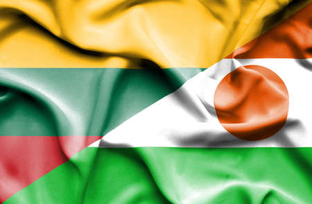lithuania: Waving flag of Niger and Lithuania