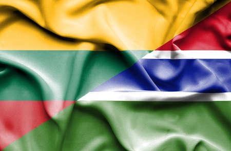 gambia: Waving flag of Gambia andLithuania