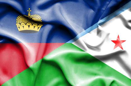 lichtenstein: Waving flag of Dijbouti and Lichtenstein