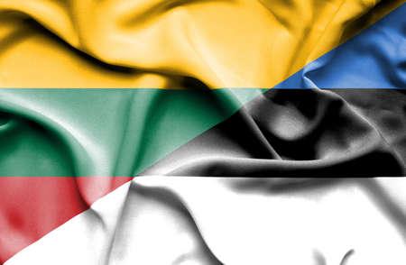 estonia: Waving flag of Estonia and Lithuania