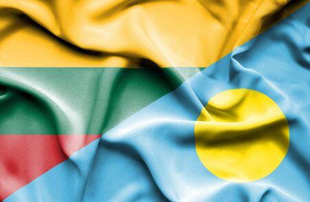 palau: Waving flag of Palau and Lithuania Stock Photo