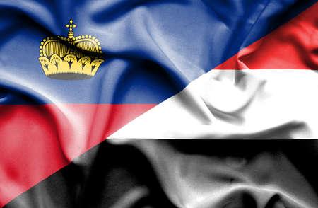lichtenstein: Waving flag of Yemen and Lichtenstein Stock Photo