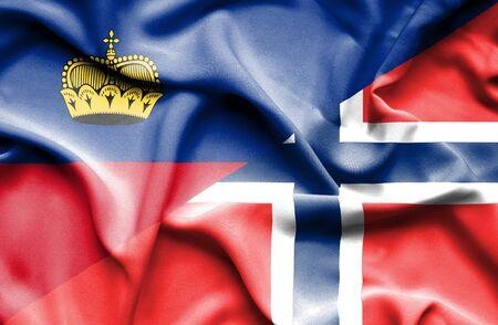 norway flag: Waving flag of Norway and Lichtenstein Stock Photo