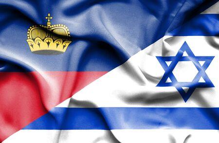 lichtenstein: Waving flag of Israel and Lichtenstein Stock Photo