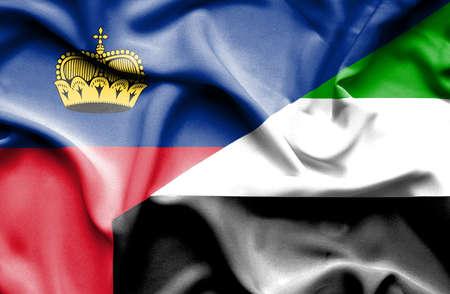 lichtenstein: Waving flag of United Arab Emirates and Lichtenstein