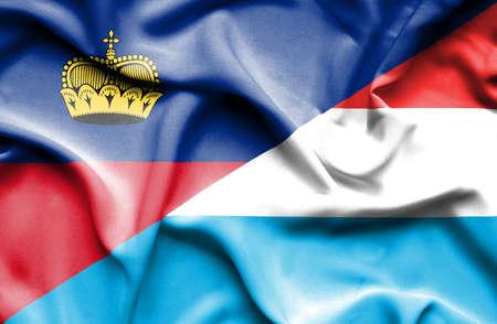 lichtenstein: Waving flag of Luxembourg and Lichtenstein