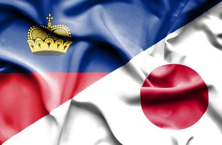 lichtenstein: Waving flag of Japan and Lichtenstein