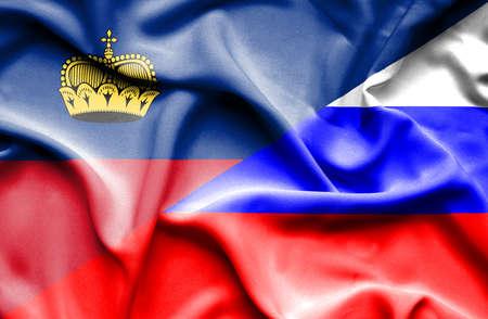 lichtenstein: Waving flag of Russia and Lichtenstein