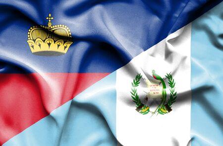lichtenstein: Waving flag of Guatemala and Lichtenstein Stock Photo