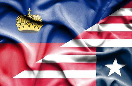 lichtenstein: Waving flag of Liberia and Lichtenstein
