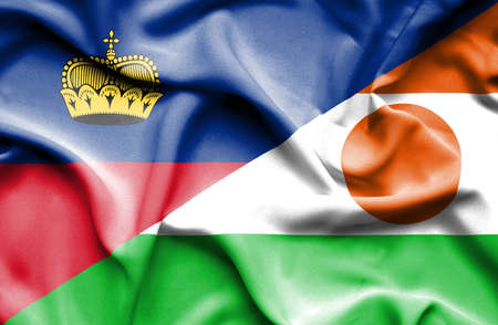lichtenstein: Waving flag of Niger and Lichtenstein Stock Photo