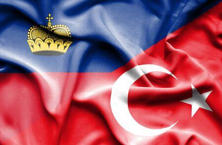 lichtenstein: Waving flag of Turkey and Lichtenstein Stock Photo