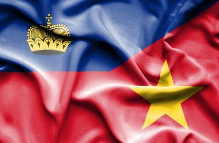 lichtenstein: Waving flag of Vietnam and Lichtenstein