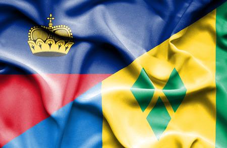 lichtenstein: Waving flag of Saint Vincent and Grenadines and Lichtenstein