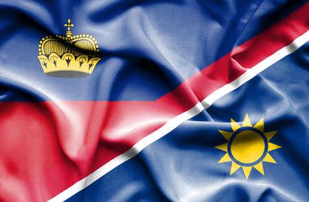 lichtenstein: Waving flag of Namibia and Lichtenstein Stock Photo
