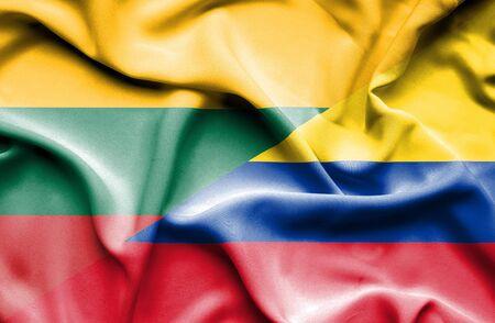 columbia: Waving flag of Columbia and Lithuania Stock Photo