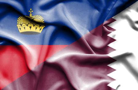 lichtenstein: Waving flag of Qatar and Lichtenstein