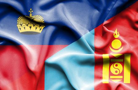 lichtenstein: Waving flag of Mongolia and Lichtenstein