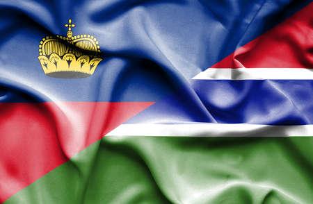 lichtenstein: Waving flag of Gambia and Lichtenstein