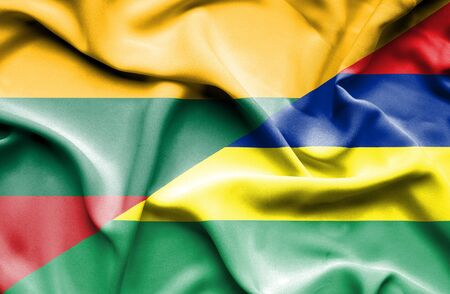 lithuania: Waving flag of Mauritius and Lithuania Stock Photo