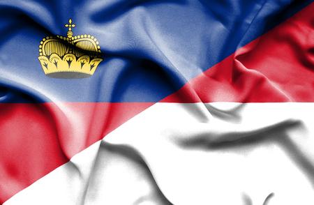 lichtenstein: Waving flag of Monaco and Lichtenstein