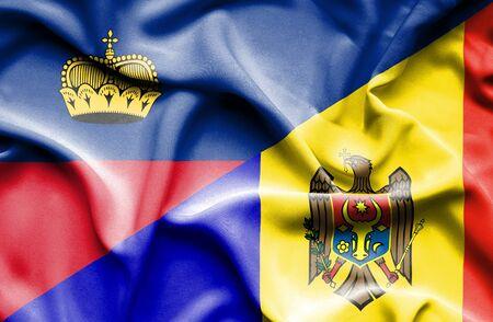 moldavia: Waving flag of Moldavia and Lichtenstein