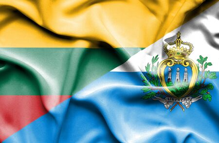 san marino: Waving flag of San Marino and Lithuania