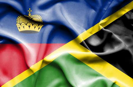 lichtenstein: Waving flag of Jamaica and Lichtenstein