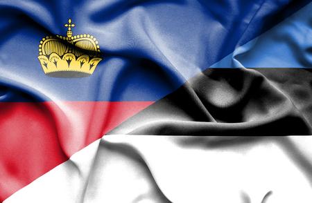 lichtenstein: Waving flag of Estonia and Lichtenstein