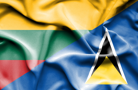 st lucia: Waving flag of St Lucia and Lithuania Stock Photo