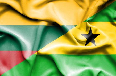 tome: Waving flag of Sao Tome and Principe and Lithuania Stock Photo